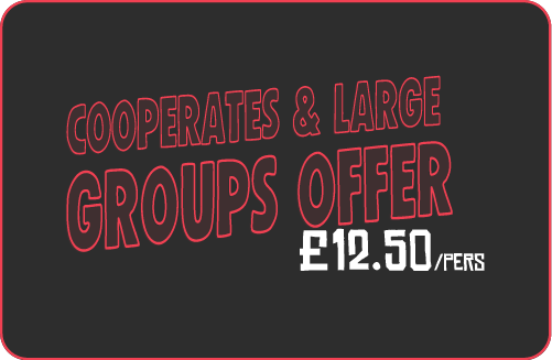 Cooperates and large groups 12.50£/pers